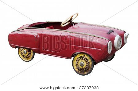 Red vintage toy car isolated on white