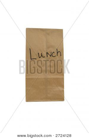 Paper Bag with word lunch on bag