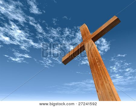 High resolution christian cross made of wood over a beautiful sky background, ideal for holiday, Christmas, Easter and religion designs