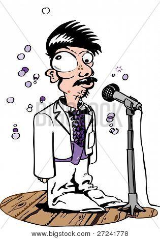 Odd man sings karaoke