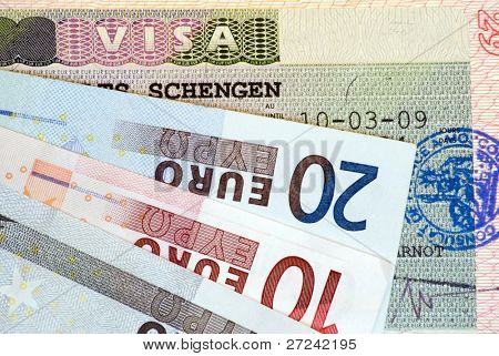 Travel in Europe: Schengen Visa and euro banknotes