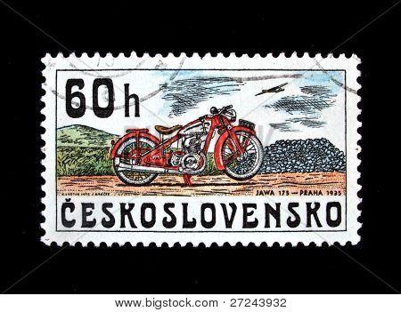 CZECHOSLOVAKIA - CIRCA 1975: A stamp printed in Czechoslovakia shows vintage Motorcycle JAWA 175 (1935), circa 1975.