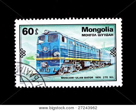 MONGOLIA - CIRCA 1979: A stamp printed in Mongolia shows 1970 train Moscow - Ulan Bator, circa 1979