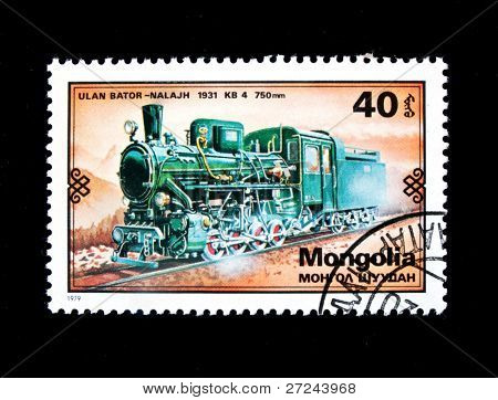 MONGOLIA - CIRCA 1979: A stamp printed in Mongolia shows vintage 1931 train Ulan Bator - Nalajh, circa 1979.