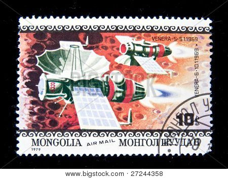MONGOLIA - CIRCA 1979:  A stamp printed in Mongolia shows spaceship Venera-6, circa 1979 Series