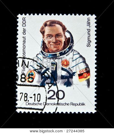 Germany - CIRCA 1978:  A stamp printed in Germany shows first German cosmonaut Sigmund Jahn, circa 1978