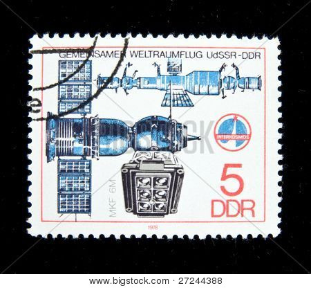 Germany - CIRCA 1979:  A stamp printed in Germany shows spaceship MKF6M , circa 1979 Series