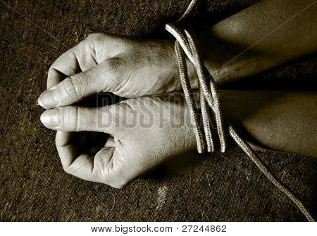 Tied male hands