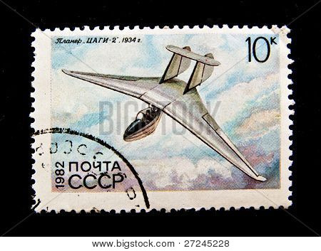 USSR -CIRCA 1982: A stamp shows image of ZAGI-2  aeroplane, circa 1982.