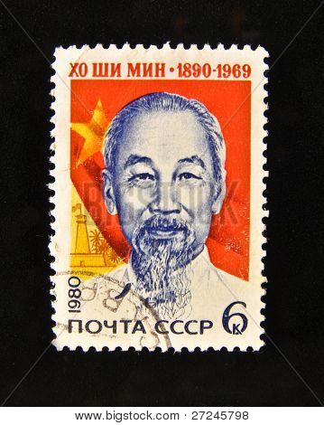 "USSR - CIRCA 1980: A Stamp printed in the USSR shows portrait of the President of Vietnam Ho Chi Minh, circa 1980. ""The great people of Russia and the World"" series, 100 stamps."