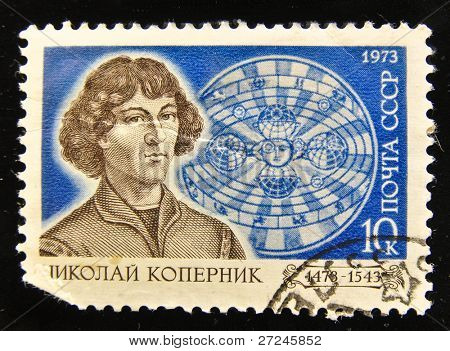 USSR - CIRCA 1973: A Stamp printed in the USSR shows portrait of the Polish astronomer Nicolaus Copernicus, circa 1973.