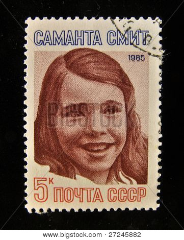 USSR - CIRCA 1985: A Stamp printed in the USSR shows portrait of the Samantha Reed Smith girl peacekeeper, circa 1985.