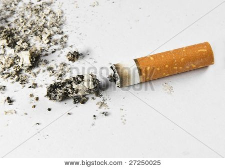 Cigarette butt and ash macro closeup