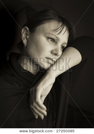 "Sadness. Portrait of a thirty-year-old Woman. ""Black & white portraits""series"