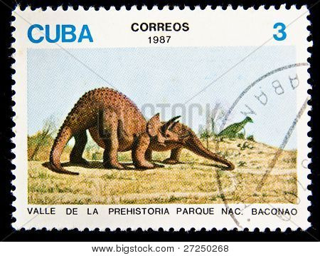 CUBA - CIRCA 1987: A stamp printed by Cuba shows dinosaur circa 1987.
