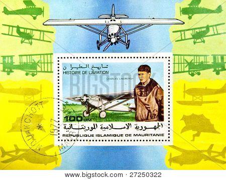 ISLAMIC REPUBLIC OF MAURITANIA - CIRCA 1977: A stamp showing Charles Lindbergh, circa 1985