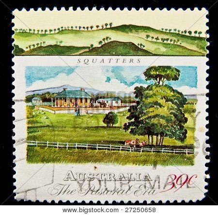 AUSTRALIA - CIRCA 1983: stamp printed in Australia, shows squatters, circa 1983