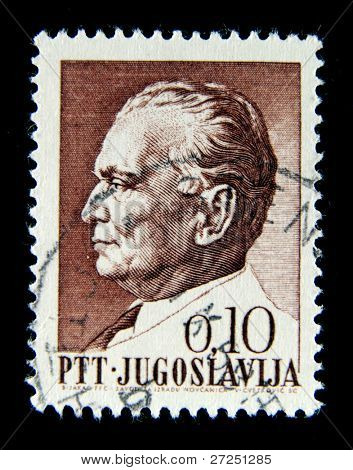 Yugoslavia - CIRCA 1974: A Stamp printed in the Yugoslavia shows Marshal Josip Tito - leader Yugoslavia, circa 1974