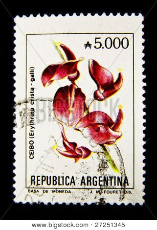 ARGENTINA - CIRCA 1980: A stamp printed in the Argentina shows flower Erethrinia crista - galli, circa 1980-Th