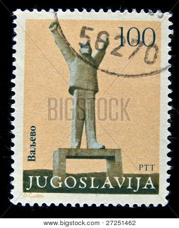 YUGOSLAVIA - CIRCA 1970: A Stamp printed in the Yugoslavia showsa memorial statue of Stjepan Filipovic in Valjevo, Serbia, circa 1970