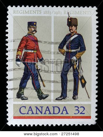 CANADA - CIRCA 1983: stamp printed by Canada, shows officer in the old uniforms, circa 1983