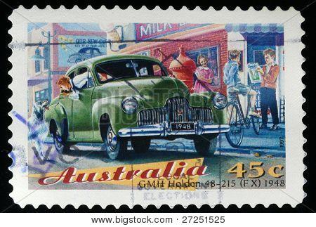 AUSTRALIA - CIRCA 1997: A stamp printed in Australia shows GMH Holden 48-125 FX 1948, circa 1997