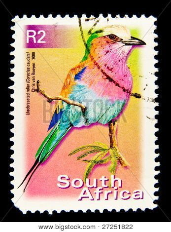 SOUTH AFRICA - CIRCA 2000: A stamp printed in South Africa shows image of a Lilac-breasted roller (Coracias caudatus), series, circa 2000