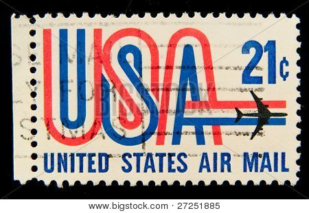 USA - CIRCA 1980-th: Stamp printed in USA shows Symbols of American airmail, circa 1980-th