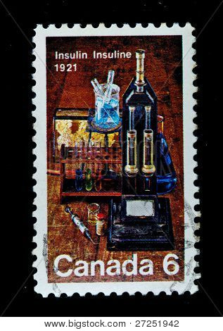 CANADA - CIRCA 1971: stamp printed by Canada, shows , circa 1971 insulin