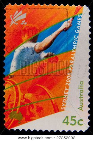 AUSTRALIA - CIRCA 2000 : A stamp printed in Australia shows Sydney 2000 Paralympic Games - tennis in a wheelchair, circa 2000