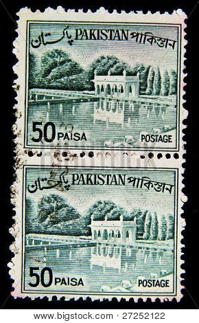 PAKISTAN - CIRCA 1950s: A stamp printed in Pakistan shows Shalimar Gardens - Lahore, circa 1950s