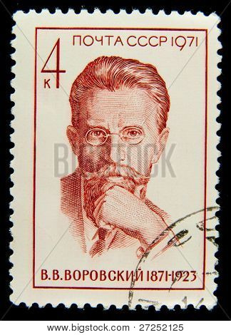 USSR-CIRCA 1971: A post stamp printed in USSR and shows portrait of Soviet party and state leaders, essayist, literary critic Vaclav Vorovsky . Circa 1971.