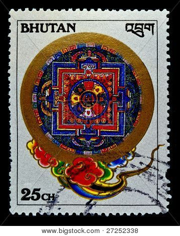 BHUTAN - CIRCA 1990s: A stamp printed in Bhutan shows traditional pattern, circa 1990s