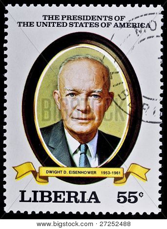 LIBERIA - CIRCA 2000s: A stamp printed in Liberia shows President Dwight D. Eisenhower, circa 2000s.