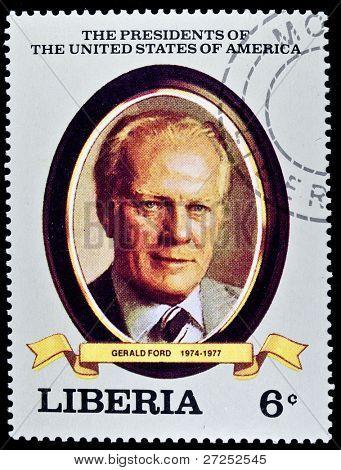 LIBERIA - CIRCA 2000s: A stamp printed in Liberia shows President Gerald Ford , circa 2000s.