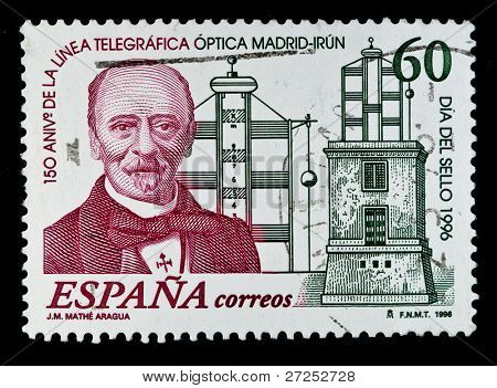 SPAIN - CIRCA 1996: A stamp printed in Spain shows image celebrating 150 years since the first telegraph wire from Madrid to Irun, series, circa 1996