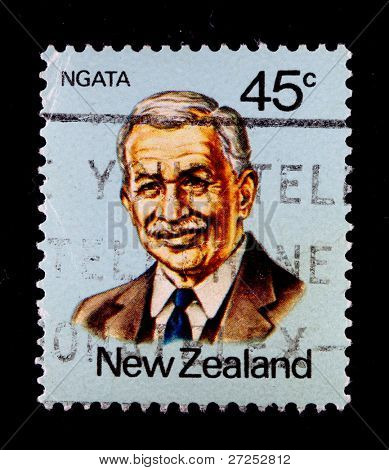 NEW ZEALAND - CIRCA 1990s: A stamp printed in New Zealand showing Sir Apirana Turupa Ngata  - a prominent New Zealand politician and lawyer, circa 1990s