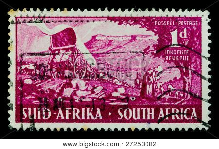SOUTH AFRICA - CIRCA 1939: A stamp printed in South Africa shows image of a horse cart, series, circa 1939