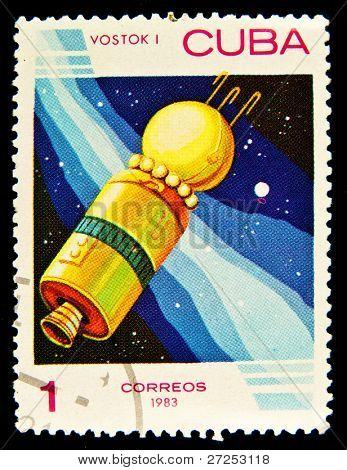 CUBA - CIRCA 1983: A stamp printed in Cuba showing cosmic Vostok I circa 1983.  Space Series