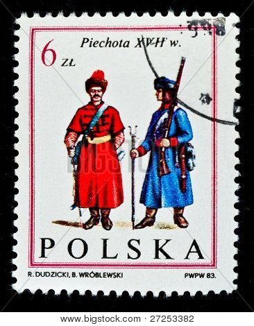 POLAND - CIRCA 1983: a stamp printed by Poland shows foot soldier Army of King John III. Infantry. X VII age. Series, circa 1983