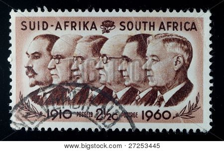 SOUTH AFRICA - CIRCA 1960: A stamp printed in South Africa shows Prime Minister Louis Botha, Jan Christiaan Smuts, James Barry Munnik Hertzog, Johannes Gerhardus Strijdom  Hendrik Verwoerd, circa 1960