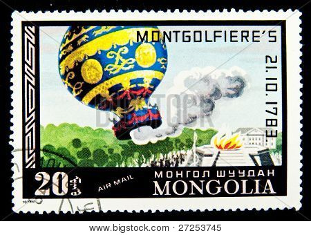 MONGOLIA - CIRCA 1977: A stamp printed in Mongolia shows image of Montgolfier's hot air balloon, circa 1977