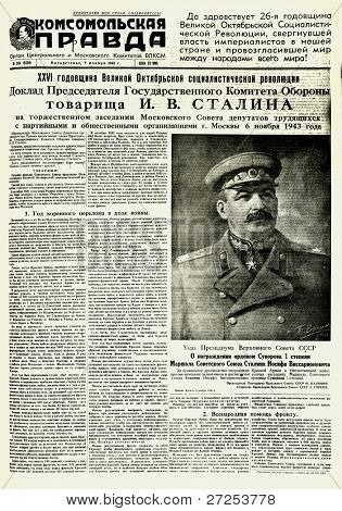 "MOSCOW, USSR - NOV 7: Soviet newspaper ""Komsomolskaya Pravda "" with a Portrait of Joseph Stalin - the Supreme Commander of the Red Army, on November 7, 1941 in Moscow, USSR"