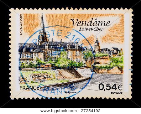 FRANCE - CIRCA 2008: A stamp printed in France shows Vend�´me, a commune in the Centre region of France., circa 2008