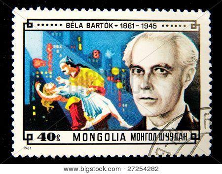 MONGOLIA - CIRCA 1981: A stamp printed in Mongolia shows image of the famous composer Bela Bartok, series, circa 1981