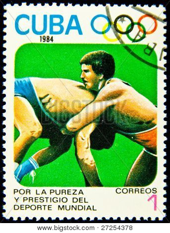 CUBA - CIRCA 1984: A stamp printed in Cuba showing Olympic games - fighting discipline, circa 1984