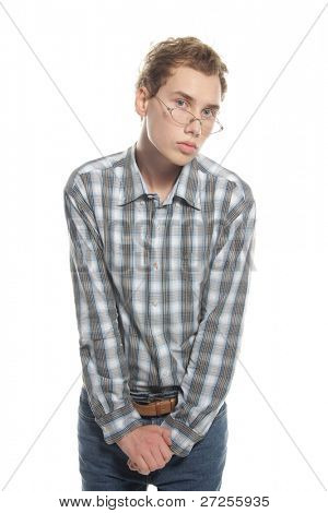 young shy man over white