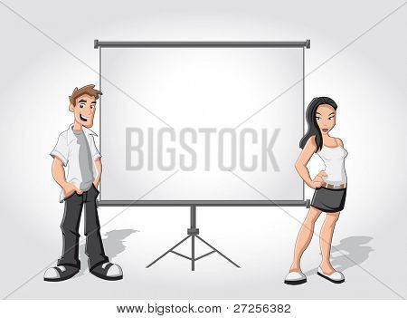 Cartoon teenagers and white billboard with empty space. Presentation screen.