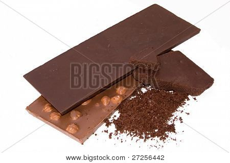 slabs chocolate nd grated chocolate isolated on white background