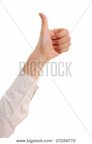 thumb up female isolated on white background
